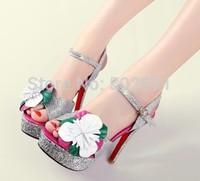 Open toe platform high-heeled shoes ultra thin heels high heels women's shoes color block flower button belt sweet  sandal S610