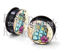 Cool symbol  acrylic screw  ear plug flesh tunnel body jewelry  mixing 10 size MH520