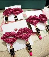 trendy rose rhinestone lip and lipsticks big earrings for women 2014 new fashion earing jewelry wholesale free shipping