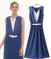 summer woman dress blue color long chiffon dress sexy v neck woman summer sleeveless with belt evening dress