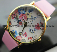 2014 Hot Selling Watches Wholesales New Fashion Leather GENEVA Rose Flower Watch For Women Dress Quartz Watches 50pcs/lot