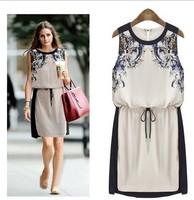 2014 New Summer Women's clothing High quality Fashion Casual dress Woman Chiffon Pinched Waist Women dress Printed Women Clothes
