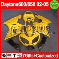 7gift For Factory yellow Triumph Daytona 650 02-05  5C2 Daytona 600 gloss yellow 650 02 03 04 05 2002 2003 2004 2005 Fairing Kit