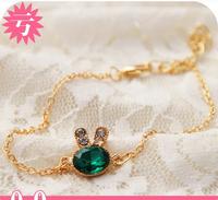 accessories sea blue gem rhinestone exquisite rabbit fashion gifts sale designer trinket meias bracelets & bangles new 2014