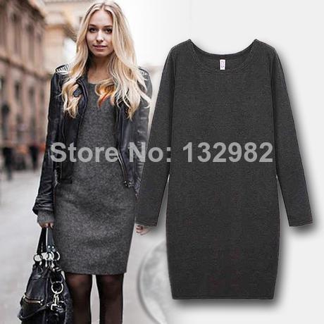 new 2014 women girl fashion casual autumn winter dress cotton cashmere above knee mini dresses black gray plus large size XL XXL()
