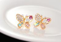 1PC multicolor pearl butterfly Imitation diamond Women stud earrings Crystal jewelry SPG1110