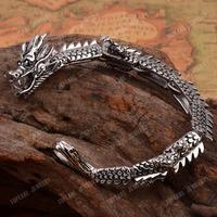 Free Shipping! Stunning 316 Stainless Steel Chinese Dragon Punk Bracelet for Men MEB199