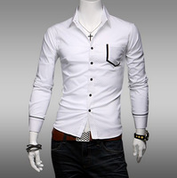2014 New Arrival Men's Fashionable Pure Color Dot Printed Leisure Turn-down Collar Long Sleeves Cotton Shirt White/Black/Navy