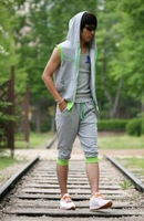 2014 Men's Hot Sale Fashionable Casual Simple Hit Color Hooded Sweater Sports Cotton Suit Black/Grey Free Shipping