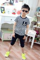 Kids boys navy striped suit children summer 2014 big boy sport suits Kids Boys T-shirt