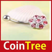 Economic benefit cointree Pretty Flower Rhinestone Navel Belly Button Barbell Ring Body Piercing Save up to 50% DIY