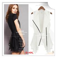 [JFYB] New 2014 Zipper Fashion Coat Women Lace Ruffle Vest Ladies White Black Brand Tops Girl's Casual Mini Dress Long Outwear