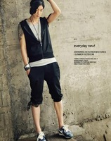 2014 Men's Hot Sale Fashionable Casual Simple Zipper Hooded Sleeveless Cotton Cardigan Sweater Suit Black/Grey Free Shipping