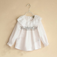 New Girls Shirts White Lace Collar Tops For Girl Children Cotton Clothes Kids Apparel Free Shipping GT40323-46