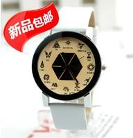 2014 New Fashion Women Dress Watches Brand PU Leather Strap Wristwatches Casual EXO Quartz Ladies Girls Watch 7 Color Wholesale