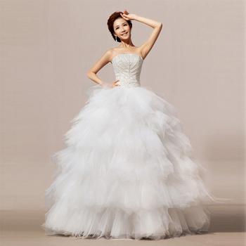 Дешевое цена ! 2014 Новый Бесплатная доставкаLine Милая Свадебное платье Бисероплетение белые свадебные платья Платья Vestidos свадебное платье HS015