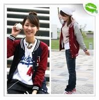 JFYB 2014 New Spring Autumn Letter A Applique Baseball Jacket Women Female Casual Coats Brand Fashion Jacket Gril 's Coat F3866