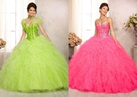 2014 Newest Dress Style 89087 Embroidered Tulle Quinceanera Gown with Beading two pieces jacket sweet 16 Girls Quinceanera dress