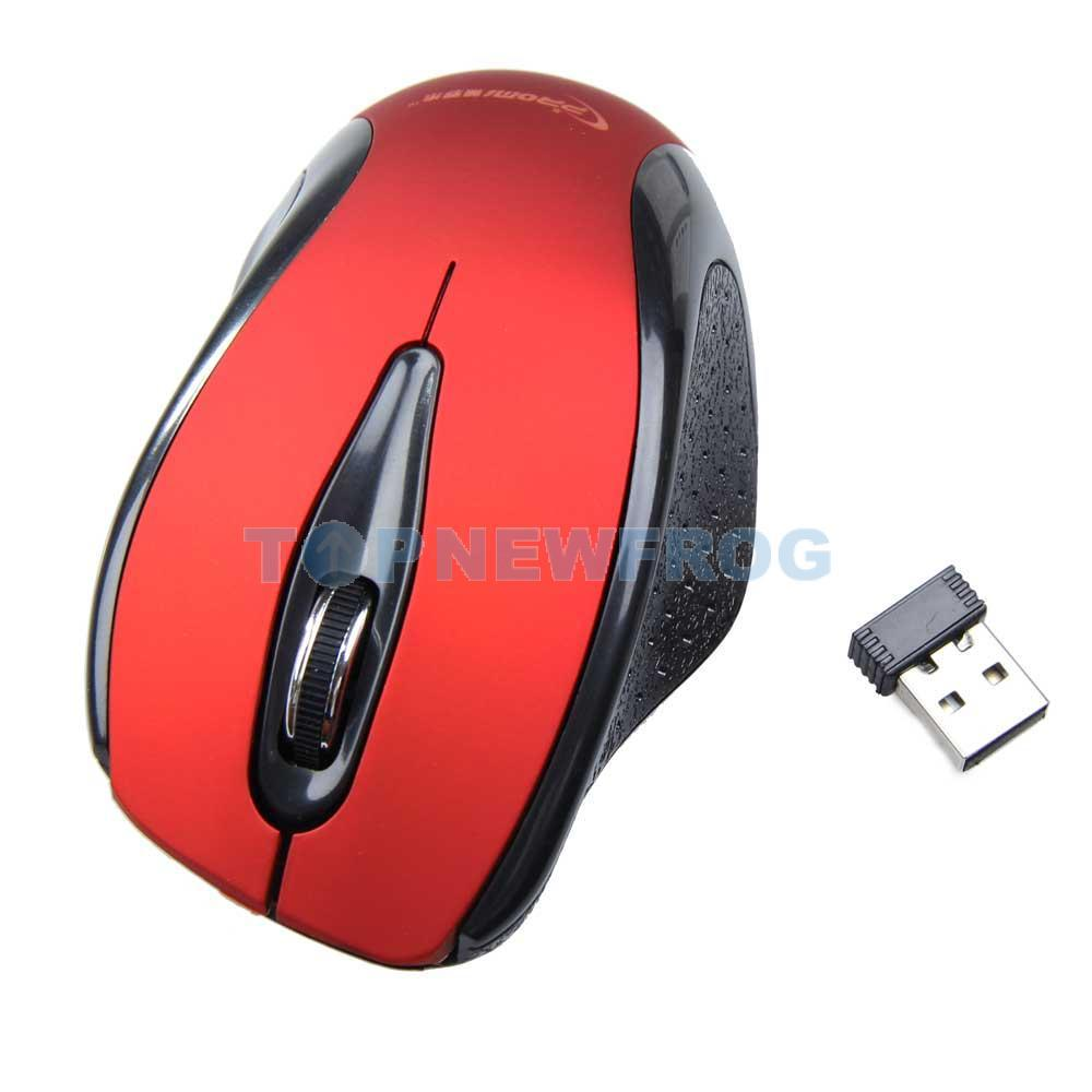 T2N2 1200DPi 2.4Ghz Wireless Optional Mouse with Mini USB Receiver Red(China (Mainland))