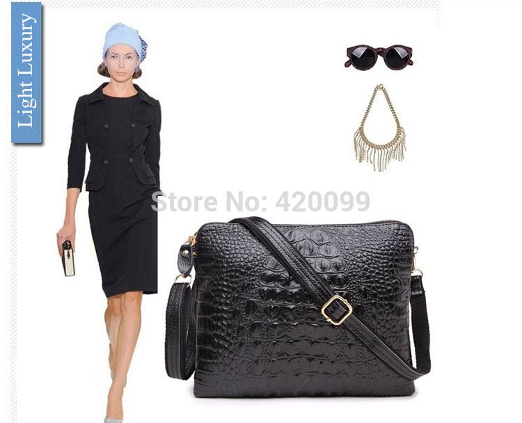 Nouvelles femmes 2014 embrayage. enveloppe. motif crocodile en cuir véritable de mode sac bandoulière sac à bandoulière en gros livraison gratuite