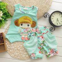 New 2014 Children's Clothing Set Cartoon Little Girl Flower Shorts And Vest 2pcs Sets Baby & Kids' Clothing Sets Kids' Suits