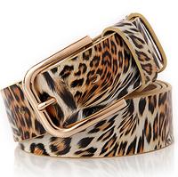 Hot sale top fashion brand women leopard real cowskin belts classic casual joker lady belts genuine leather design women straps