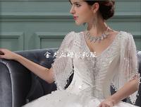 Puff sleeve wedding dress shoulder strap with sleeves bag maternity slim royal wedding dress