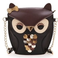 hot 2014 women's trend leather handbag vintage owl fox mini fashion cartoon shoulder bag cross-body messenger bags free shipping