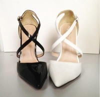 Europe and America sexy feminine elegance empty after fine with high-heeled shoes women's singles shoes white&black color