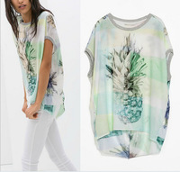 2014 New Ladies Casual Pineapple Printed Irregular Patchwork Loose Chiffon T Shirt Short Sleeve ZA Brand Tops Tees T-shirt A503