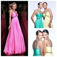 NEW11072 A-Line Floor-Length Beaded Halter Cheap Chiffon Long Prom Dress,2014 New Arrival Prom Dresses