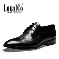 Men's Black  Business Shoes Solid Formal Dress Oxfords Shoes First Layer Cow Leather Flats  Brand LoyalCo