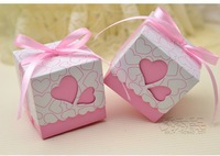 pink purple heart wedding favor candy box with ribbon gift box chocolate box 50pcs/lot baby shower favour party supplies