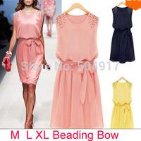 2014 Summer Korean Slim Beading Sleeveless Tank vest Dress O-neck Bow Chiffon Dress Belt Cute Cheaper dress5169