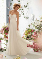 Free Shipping !Best Selling New Arrival 2014 Sexy A-line Sweetheart Sleeveless Long Full Beaded Chiffon White Prom Dresses