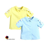 New Summer Girls Fashion Lovely  Solid Short-sleeved with bows Children Good Quality Skin-friendly Cotton Shirts