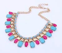 layered candy color  tassels fringe drop vintage casual jewelry  acrylic alloy chain for lady necklace pendants free shipping