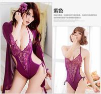 Sexy sleepwear the temptation to set women's open front lace transparent multiple set