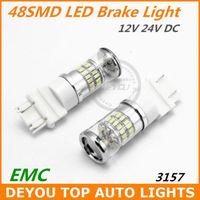 New 2pcs/lot T25 3157 48SMD 3014 LED Brake signal Tail Light Bulb Xenon White 12V 24V DC Free shipping