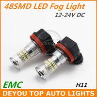 New 2pcs/lot H11 48SMD 3014 LED Fog Light Bulb Xenon White 12V 24V DC 1year warranty Free shipping