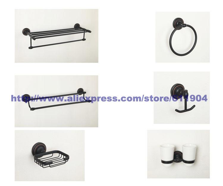 Oil Rubbed Bronze ORB Bathroom Hardware 6 Piece Set Bath Room Accessaries 3HA0103(China (Mainland))