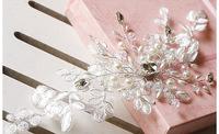 2014 Crystal Lace Flower Hair Jewelry Rhinestone Pearl Wedding Hair Accessories Bridal Head Jewelry Headpiece Headwear WIGO0300