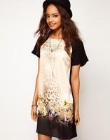 2014 New Fashion Lady Women's  chiffon Blouse Short Sleeve Character Leopard  girl Summer casual style T-Shirt