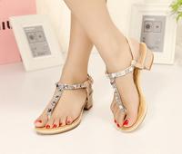 2014 New Arrival Women's Elegant Bohemia New Style Rhinestone Embellished Flip Flops Flat Thong Sandals Pink/Apricot