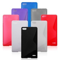 2014 New Arrival 1Pcs free shipping Soft TPU Gel Cover Case for Huawei Ascend P7 Sophia Plain Glossy Jelly design