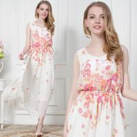 Basic Elegant Sleeveless Romantic Flower Printed Dresses New Fashion 2015 Summer Full Dress For Women 8526#