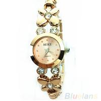 Luxury 2014 Hot Unique fashion Ladies Girls Womens Rhinestone Golden Quartz Wrist Watch 00WY
