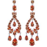 Multicolour Glaring Dangle Champagne Zircon Diamante Waterdrop Crystal Chain Earrings Gift