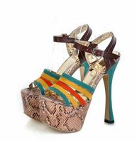 2014 New Arrival Women's Sweet European Vogue Snake Line Colorful Stripe High Heel Sandal Orange/Blue/Yellow Plus Size