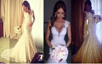 FCD78 2014 Real Sample Custom Made Sexy With Cap Sleeves Lace Pearls Beads Mermaid Charming Wedding Dresses Bridal Gowns Satin